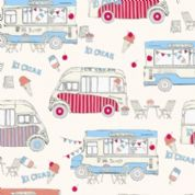 M Makower Transport - 3459 - Ice Cream Vans on Pale Pink - 6782 P35 - Cotton Fabric